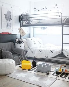 This room is simply wonderful! Beautifully styled by @jt_jaydenton - it's a delightful space to play and sleep. You can get the look with Tellkiddo bear bedding and mini bear cloth bag, OyOy adventure rug, Design Letters water bottle, Cable and Cotton ombre light string and the fab Lego storage blocks. All available online now