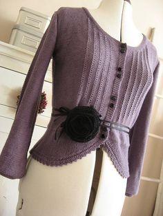 cardigan - sweet purple with black flower waist band