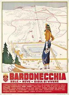 vintage ski poster - BARDONECCHIA, 1939