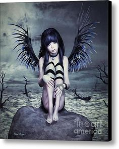 Goth Fairy Canvas Print  By Alicia Hollinger Watermark not on actual products #AliciaHollingerArt