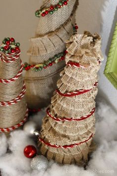 DIY Burlap Christmas Trees. Create these adorable and simple burlap Christmas trees using supplies you already have in your craft room to decorate your home for the holidays.