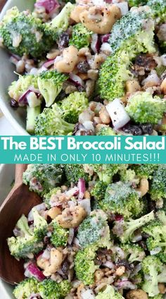 It only takes 10 minutes to whip up THE BEST Broccoli Salad ever, made with bacon, raisins and cashews! It's so easy to make & always a crowd favorite! Broccoli Salad With Raisins, Best Broccoli Salad Recipe, Healthy Broccoli Salad, Salad Recipes, Broccoli Raisin Salad, Creamy Coleslaw Dressing, Vegetarian Recipes, Healthy Recipes, Simple Recipes