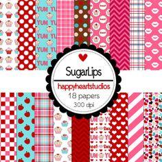 Digital Scrapbook SugarLipsINSTANT DOWNLOAD by azredhead on Etsy, $2.00