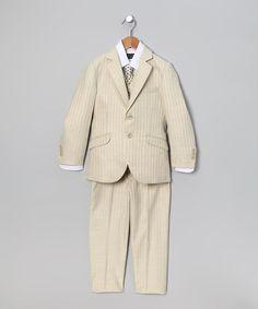 Another great find on #zulily! Ivory & Brown Stripe Five-Piece Suit - Toddler & Boys by Bijan Kids #zulilyfinds