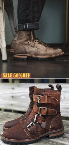 Classic men's leather boots,now on sale,comfortable and versatile,click on the link to buy now. Leather Men, Leather Boots, Punk Mode, Men's Shoes, Shoe Boots, Casual Shoes, Men Casual, Mens Boots Fashion, Classic Man