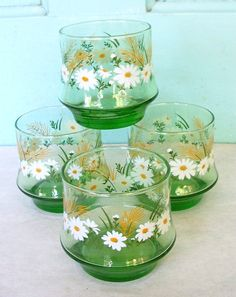 Vintage Libbey Green with Daisies Drinking by DebscountryVintage, $18.00