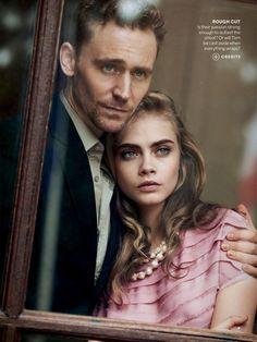 Cara Delevingne & Tom Hiddleston by Peter Lindbergh for Vogue US
