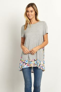 Grey-Floral-Accent-Short-Sleeve-Top