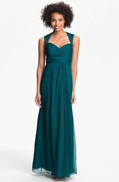 Amsale Crinkled Silk Chiffon Gown available at Nordstrom