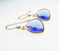 Royal Blue Faceted Teardrop Earrings in Gold by StephieMc on Etsy, $19.99