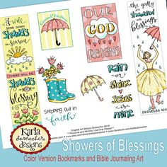Showers of Blessing Full-Color Bookmarks Bible Journaling Art Tags INSTANT DOWNLOAD Scripture Digital Printable Christian