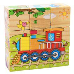 Children 3D Puzzle Educational Toys Six Sides 9Pcs Wooden Magic Cubes Baby Transportation Jigsaw Puzzle Cube Toys
