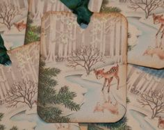 Baby Deer Glittered Old Fashion Vintage Christmas Gift Tags