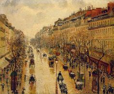 """Poem contest - Camille Pissarro, """"Boulevard Montmartre, Rainy Weather"""" / Rusty Blackwood, """"A Rainy Day in Paris"""" - All Poetry"""