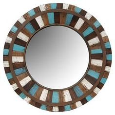 """Multicolor reclaimed wood wall mirror.  Product: Wall mirrorConstruction Material: Reclaimed wood and mirrored glassColor: MultiFeatures: Will enhance any décor Dimensions: 30.5"""" Diameter x 2.5"""" D"""
