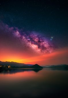Beautiful sky and lake Outdoor Photography, Nature Photography, Beautiful Sunset, Beautiful Places, Sky Williams, Paradise Pictures, Nighttime Sky, Galaxy Photos, Orange Moon