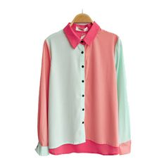 Color Block Chiffon Blouse with Dipped Hem ($39) ❤ liked on Polyvore featuring tops, blouses, shirts, chicnova, green chiffon shirt, green long sleeve blouse, color block long sleeve shirt, chiffon shirt and long sleeve blouse