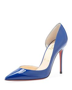 Iriza Patent Pointy Red Sole d\'Orsay Pump, Neptune by Christian Louboutin at Neiman Marcus.