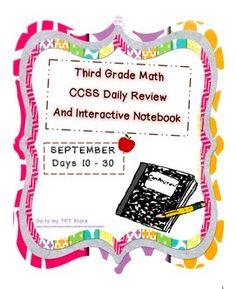 Third Grade CCSS Daily Math SEPTEMBER 2014 huge freebie (137 pages)