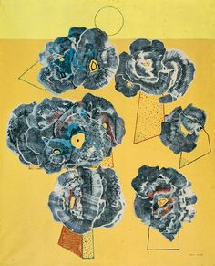 transistoradio: Max Ernst (1891-1976), Flowers on a Yellow Background (1929), oil on canvas.