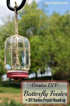 Garden DIY Butterfly Feeder | This simple DIY butterfly feeder makes a wonderful addition to any garden or flower bed. Records show that the numbers of butterflies, bees, and other pollinators are declining, so they really need our help! This simple feeder, made from a mason jar, some twine, and a piece of sponge, will help attract these friendly insects to your garden and give them a place to refuel. It's a win-win! | GNOWFGLINS.com