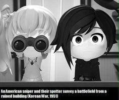 RWBY: An American sniper and their spotter survey a battlefield from a ruined building