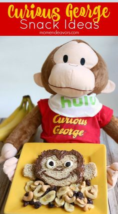 Curious George Snack Ideas - make this Curious George sandwich and monkey munch to enjoy while watching Curious George, now streaming only on Hulu. Sponsored