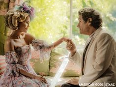 Kristin Chenoweth as Easter with Ian McShane in American Gods White Jesus, Black Jesus, Survivor's Remorse, Mad Sweeney, Unfaithful Wife, The White Princess, New Gods, American Gods, Amazon Prime Video