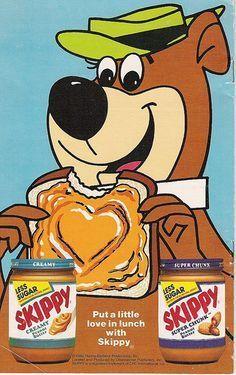 Yogi Bear for Skippy Peanut Butter ad, 1986 . You Dang Skippy, lol! Old Advertisements, Retro Advertising, Retro Ads, Retro Logos, Vintage Cartoon, Vintage Ads, Vintage Logos, Skippy Peanut Butter, Old Ads