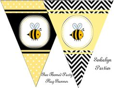 Bee Theme Free Party Printables! A new view of another printable included in this set, of one of our most popular PINS! These free printables are so cute! http://www.seshalynparty.com/event-party-planning/bee-party-theme-free-printables/