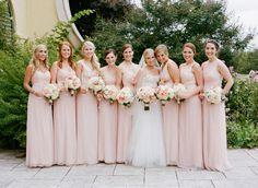 Blush pink bridesmaid dresses: http://www.stylemepretty.com/virginia-weddings/charlottesville/2014/03/31/blush-pink-wedding-at-keswick-hall/ | Photography: Jen Fariello - http://www.jenfariello.com/