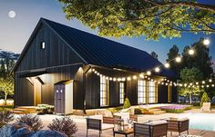 @ dream house this would be bar & game area as well as bunk/pool house Modern Barn, Modern Farmhouse, Little Big House, Barn House Design, Black House Exterior, Outdoor Living Rooms, Beautiful Home Designs, Nautical Home, Barn Plans