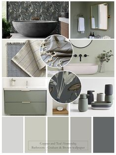Bathroom Colour Schemes Warm, Bathroom Colors Gray, Green Bathroom Decor, Bedroom Colour Palette, Grey Palette, Brown Bathroom, Grey Green Bedrooms, Sage Green Bedroom, Wall Paint Colour Combination