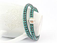 Teal double wrapped leather bracelet with Swarovski strass by TyssHandmadeJewelry, $29.90