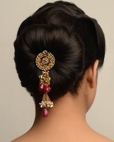 Floral Hair-Pin with Clear Stones and Wine Drops