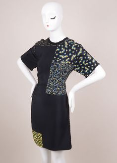 Black, Yellow, and Blue Floral Print Silk Dress