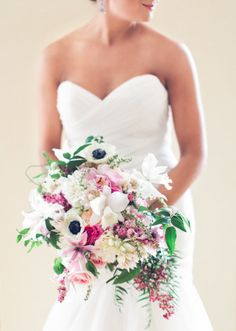 Blush and white wedding bouquet with anenome and orchids. Photo: @joeykennedy  Bouquet: @april_s_mason Wedding Planner: Soiree by Souleret (www.soireebysouleret.com)