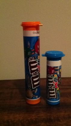 Save quarters in the tubes M & M minis come in. The orange 1 will hold $20 & the blue 1 will hold $14.