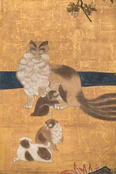 """Detail from  six-panel screen """"Mother and Her Kittens"""".  Japan, Kano School…"""