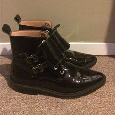 Oliver Clark patent leather boots retail $495 Marked size mens 8 but fits like a 9.5 women's because very narrow toe, worn a couple times but great condition see photos please, patent leather style similar to ysl or miu miu Miu Miu Shoes