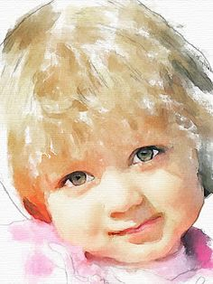 Beautiful portrait of a small child. Watercolour by Vitaly Shchukin. Watercolor Face, Watercolor Pictures, Watercolor Portraits, Watercolor Paintings, Watercolours, Watercolor Trees, Watercolor Artists, Watercolor Landscape, Abstract Paintings