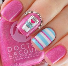 Get inspirations from these cool stylish nail designs for short nails. Find out which nail art designs work on short nails! Beach Nail Designs, Blue Nail Designs, Pretty Nail Designs, Short Nail Designs, Summer Pedicure Designs, Best Nail Art Designs, Nail Polish Designs, Nail Polish Colors, Pink Nail Art