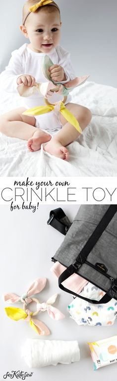 FREE Knotted Baby Crinkle Toy pattern and tutorial from the blog of... See Kate Sew