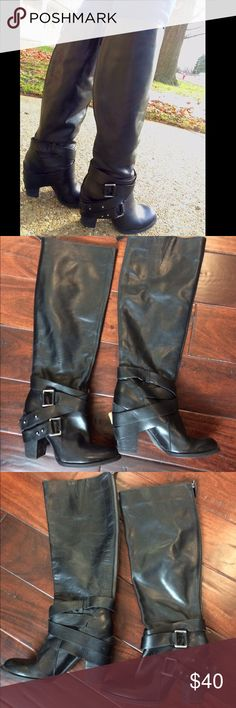 ❗⬇👩🏻Nine West Vintage America kedan buckle boots Beautiful leather boots.i cannot find the size on these I think it rubbed off possibly,they fit like a 6-6.5. I wear anywhere from a 6-7 and they fit me but feel on the smaller side. They are in good condition. Please note both outer soles have a weird little shallow hole in them,I bought these used so not sure how it got there but it does not go through the boot and does not affect wear. Zips up back. Insole in great condition!  See…