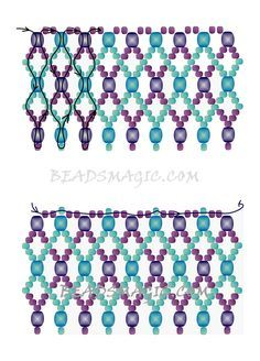 """FREE pattern for necklace ELAINE   Beads Magic#more-9595. Use: seed beads 11/0 (2 colors), 4 mm beads ( 2 colors). This is the """"Adriatic"""" pattern tweaked by Elaine C Vechorik. Page 2 of 2"""
