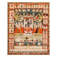 Pichhavai with a depiction of sarat purnama, the festival of the autumn full moon with Shrinathji in the middle. Ink, colours and gold on cloth, North India, Rajasthan, Nathdwara 19th century