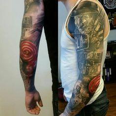 #tattoo#sleevetattoo #horror #horrortattoo #saw #fridaythe13th #jasonvoorhees #elmstreet #freddykrueger #shining #coverup #mikkoinksanity