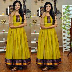 Apr 2020 - Mahendi Color South Fashion Ready made gown Long Gown Dress, Sari Dress, Anarkali Dress, Lehenga, Long Dress Design, Dress Neck Designs, Indian Designer Outfits, Designer Gowns, Saris
