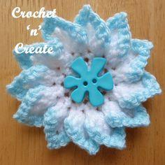 Pretty folded petal flower, free crochet pattern, use as an adornment for clothing, blankets etc. #crochet