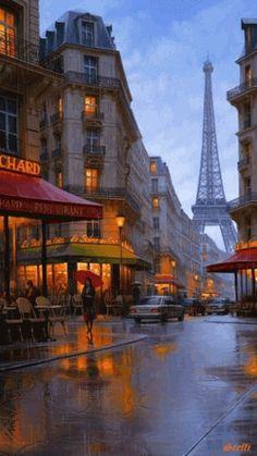 Paris buildings in the rain.